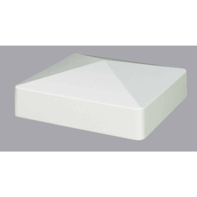 Outdoor Essentials 5 In. x 5 In. White Pyramid Vinyl Post Cap