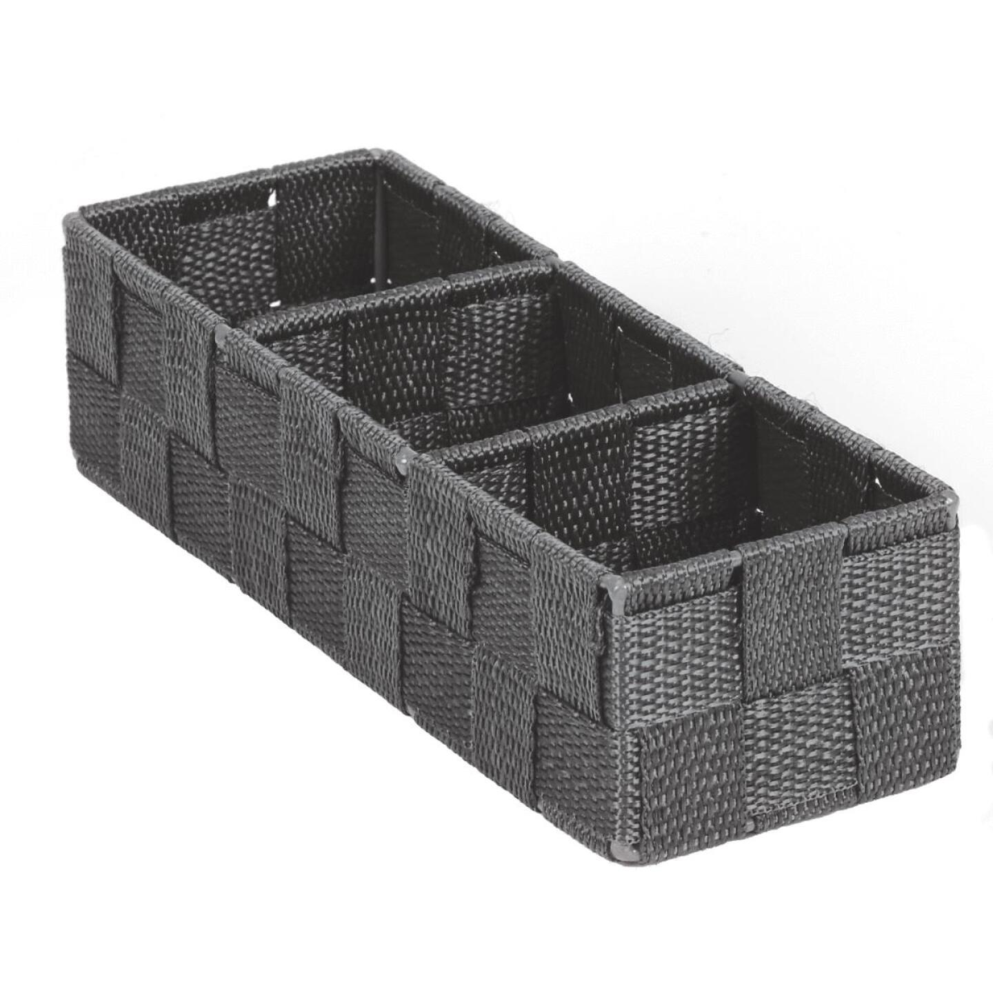Home Impressions 3.25 In. W. x 2.25 In. H. x 9.5 In. L. Woven Storage Tray, Gray Image 1