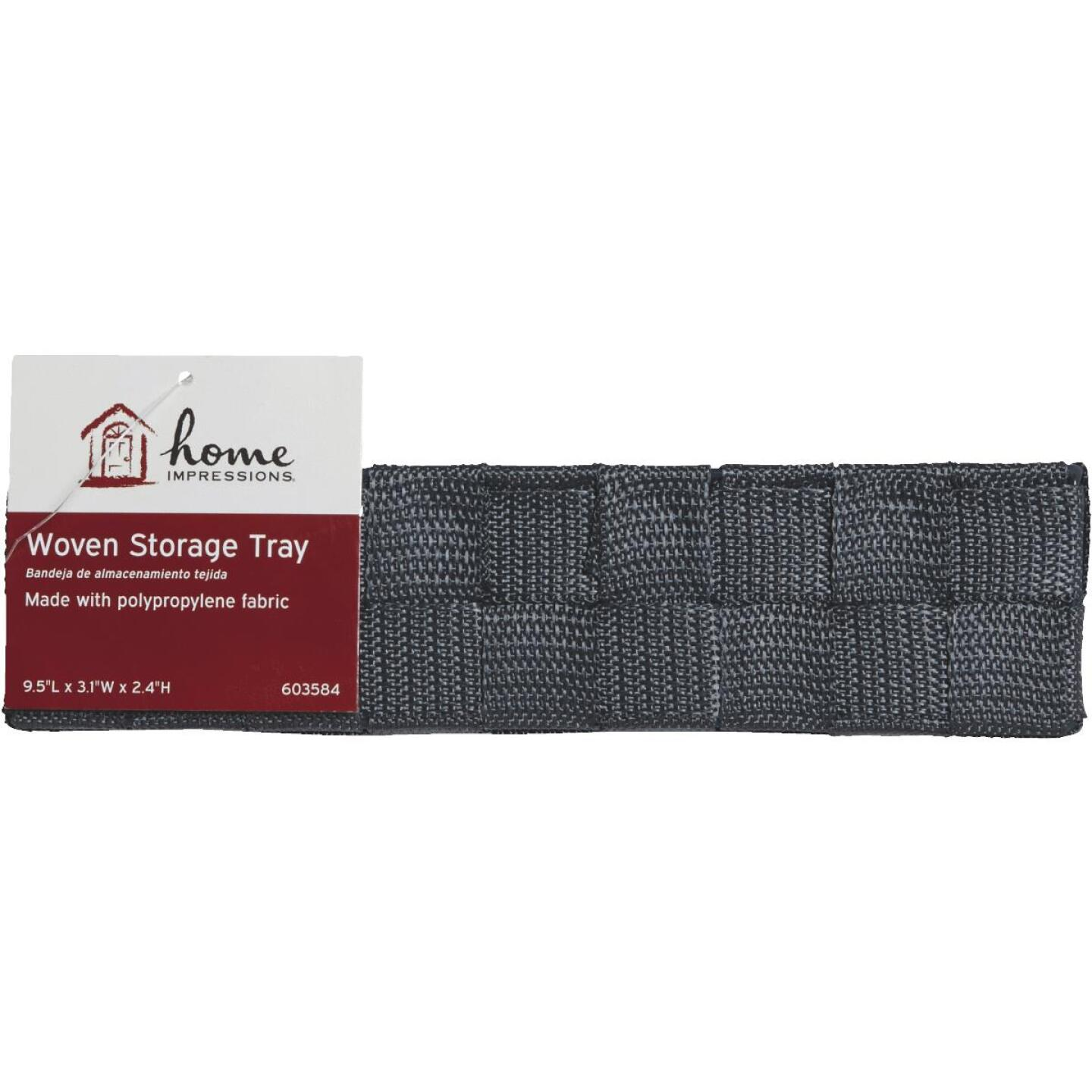 Home Impressions 3.25 In. W. x 2.25 In. H. x 9.5 In. L. Woven Storage Tray, Gray Image 2